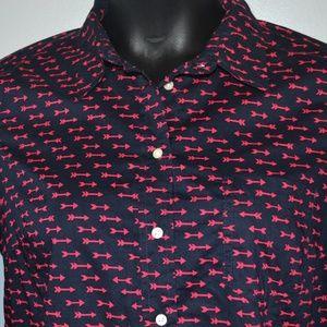 Gap Blue with pink arrows dress shirt Size Medium